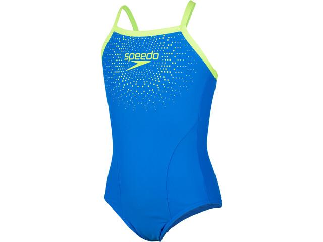 speedo Gala Logo Thinstrap Muscleback Bañador Niñas, blue/green